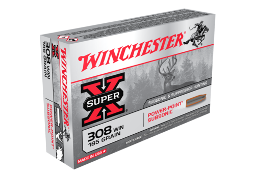 WIN052-WINCHESTER SUPER X 308 WIN 185GR SUBSONIC 20RNDS