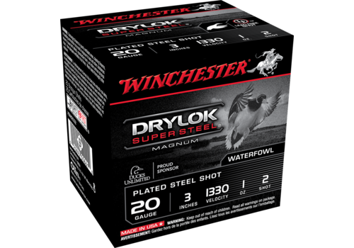 "WINCHESTER DRYLOK SUPER STEEL 20G 3"" 28GM #2 1330FPS 25RNDS (WIN1075)"