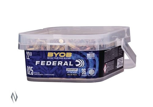 NIO003-FEDERAL BYOB 22LR 36GR HP HV 1260 FPS (825RND BUCKET)