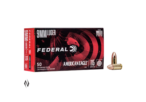 FEDERAL AMERICIAN EAGLE 9MM 115GR FMJ 50RNDS(NIO1128)
