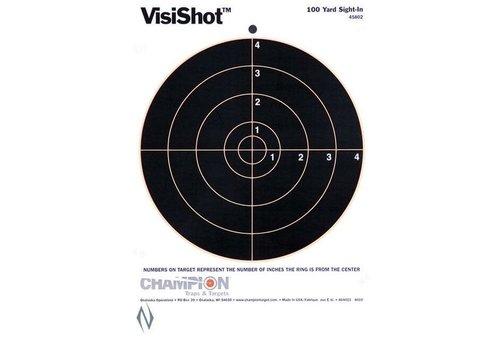 NIO1741-CHAMPION TARGET VISISHOT 8 INCH BULLS EYE 10 PACK 8.5 INCHX11 INCH