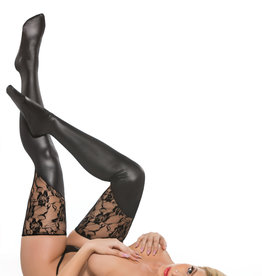 Allure Lingerie Lace & wet look tights