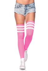Leg Avenue Athlete Thigh Hi W/ 3 Stripe Top O/S NEON PINK