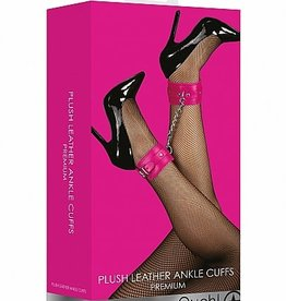 Shots Ouch! Ouch! Plush Leather Ankle Cuffs - Pink