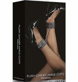 Shots Ouch! Ouch! Plush Leather Ankle Cuffs - Black