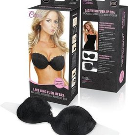 HOLLYWOOD CURVES LACE PUSH UP SELF AD WING BRA-BLK A