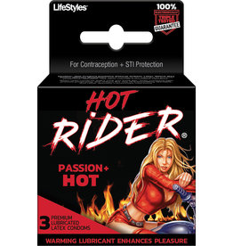 Lifestyles Rough Rider Condom Hot Passion Warming Lubricated 3 Pack