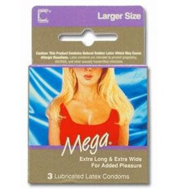 Contempo Contempo Mega Extra Long/Wide Condoms 3pk