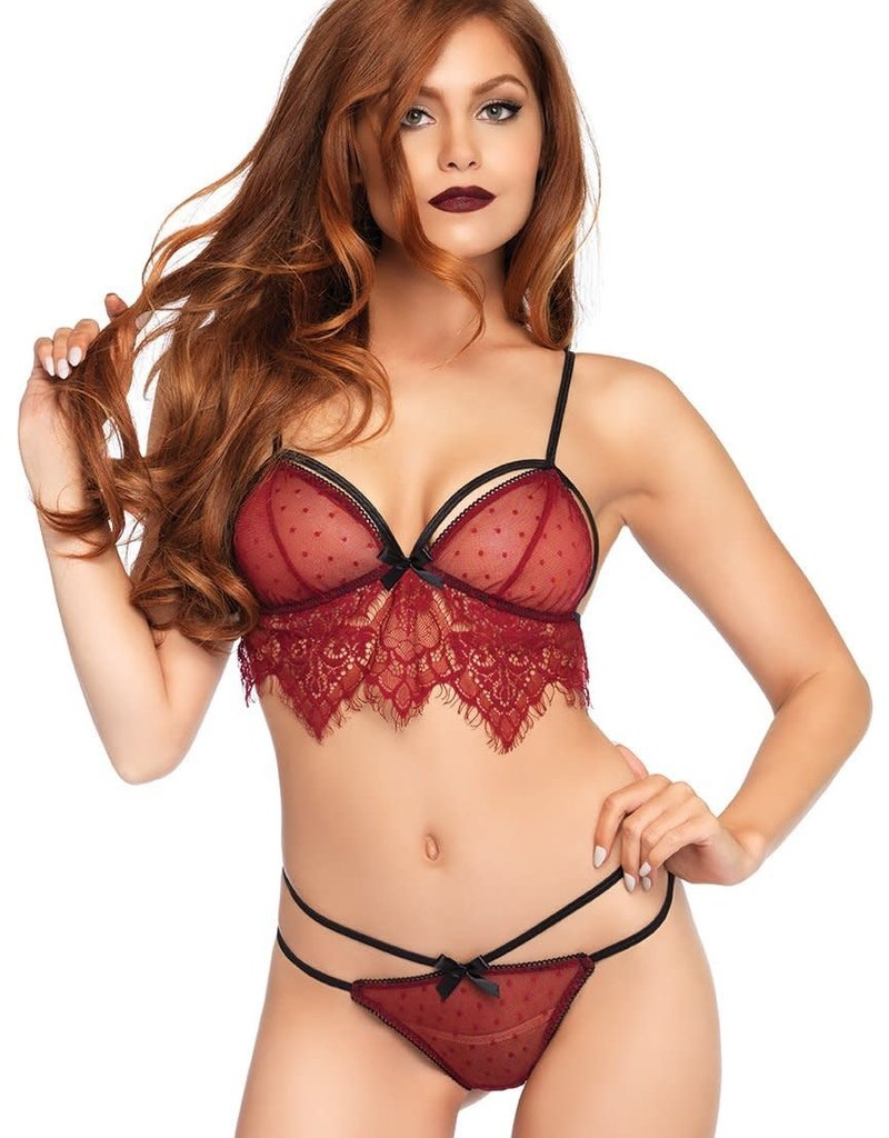 Leg Avenue 2 pc Swiss Dot Cage Strap Bra Top With Chantilly Lace Fringe / G-string