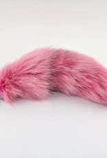 "Touch of Fur 14""-17"" Fox Tail Light Pink Stainless Steel Plug-Medium"