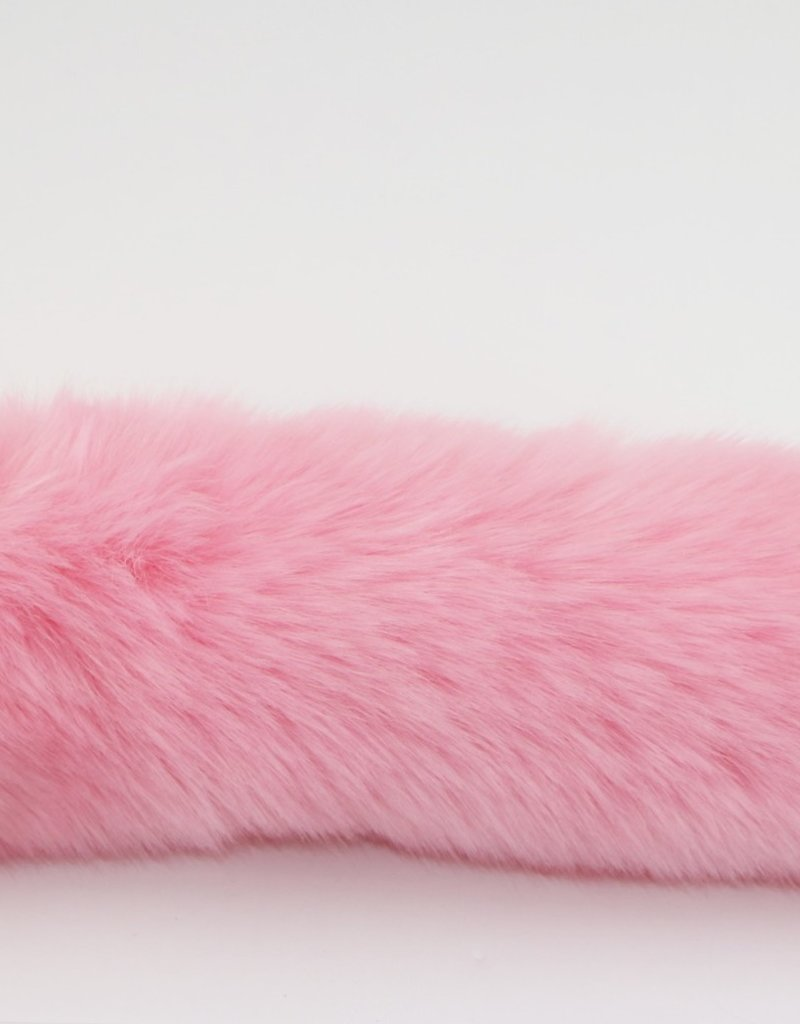 """Touch of Fur 17"""" - 18"""" Pink Faux Fur Tail on Stainless Steel Plug-Medium"""