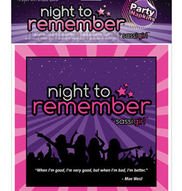 "SASSI GIRL Night to Remember Standard 6.5"" Napkins - Pack of 10"