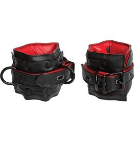 KINK by Doc Johnson Kink Leather Ankle Restraints Padded Red And Black 16.8 Inch