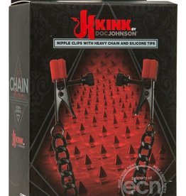 Doc Johnson's Kink Chain - Nipple Clips With Heavy Chain & Silicone Tips