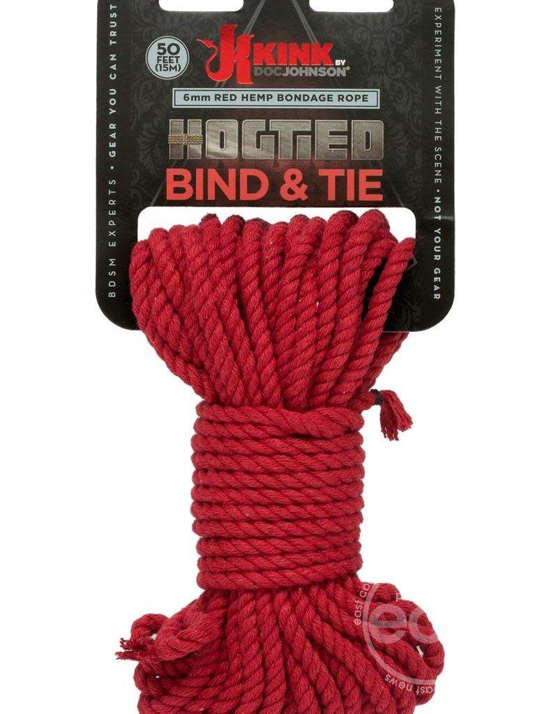 KINK by Doc Johnson Hogtied - Bind & Tie - 6mm Hemp Bondage Rope - 50 Feet - Red