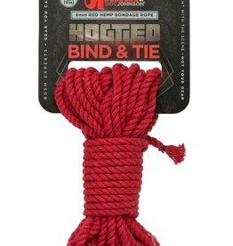 KINK by Doc Johnson Hogtied - Bind & Tie - 6mm Hemp Bondage Rope - 30 Feet - Red