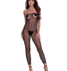 Dreamgirl Simply Sexy Convertible Diamond Pattern Open Crotch Bodystocking - Doubles as Crop Top- Blk- OS