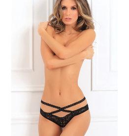 Rene Rofe Oh My Lace Crotchless Panty - Small/ Medium - Black