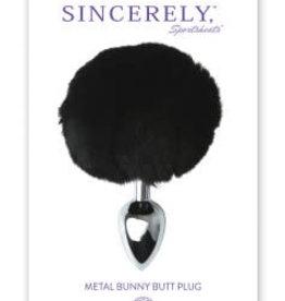 Sportsheets Sincerely Metal Bunny Butt Plug - Black