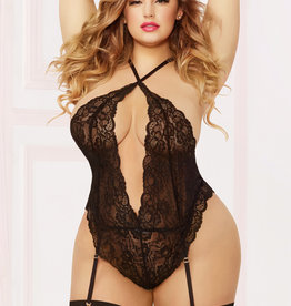 Seven Til Midnight Lace Teddy W/garters & Thigh High - Queen Size - Black