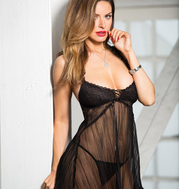 Shirley of Hollywood H.O.T. Stretch Lace & Pleated Net Baby Doll - One Size - Black