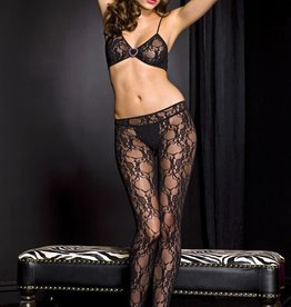 Music Legs Lace cut-out front crotchless bodystocking with faux rhinestone heart buckle accent 1