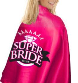 Little Genie Super Bride Cape and Mask - Hot Pink/black