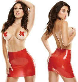 Latex Wear Premium Latex Mini Skirt Red S/M