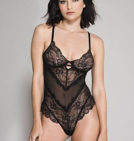 Music Legs Flower Lace & Back Mesh Teddy with Underwire Cups OS
