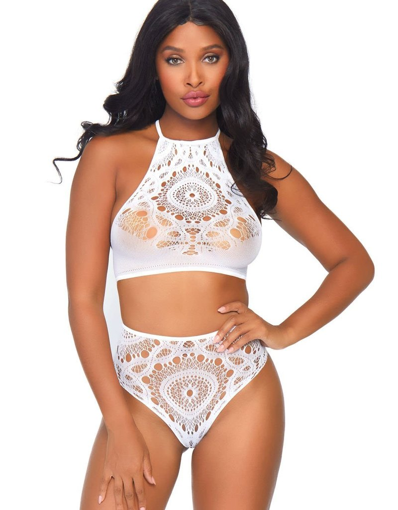 Leg Avenue 2pc Crochet Lace Halter Crop Top with Strappy Back Detail & Matching High Waist Thong - White SM