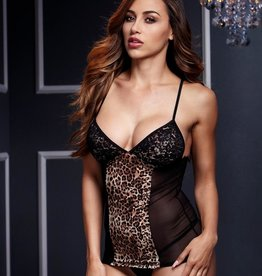 Baci Leopard & lace Chemise with Garters OS