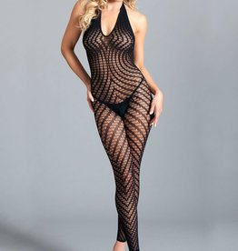 BeWicked Crotchless Halter Bodystocking W / Scoop Low Back - One Size - Black