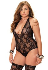 Leg Avenue 2PC.Floral lace deep-V lace up teddy and matching stockings PLUS  BLACK