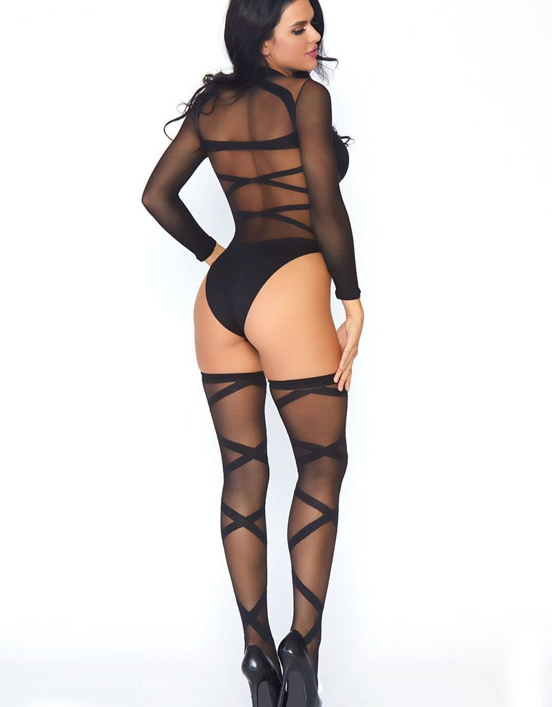 Leg Avenue 2Pc. Opaque Sheer Criss Cross Body Suit And Matching O/S BLACK