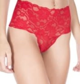 Music Legs Thick Lace Band Panty - Red ML