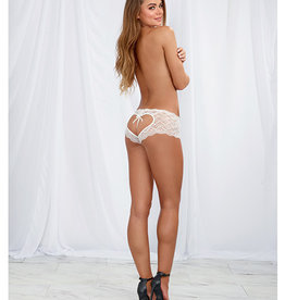 Dreamgirl Heart Stretch Lace Panty w/Open Crotch White