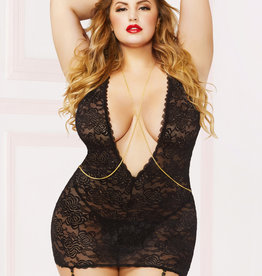 Seven Til Midnight Lace & Chain Chemise With Thong Set - Queen Size - Black