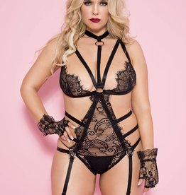 Music Legs Garter Teddy with Multiple Straps and O-Rings - Black - Plus Size