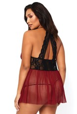 Leg Avenue 2 Pc. Babydoll Set - 1x2x- Burgundy