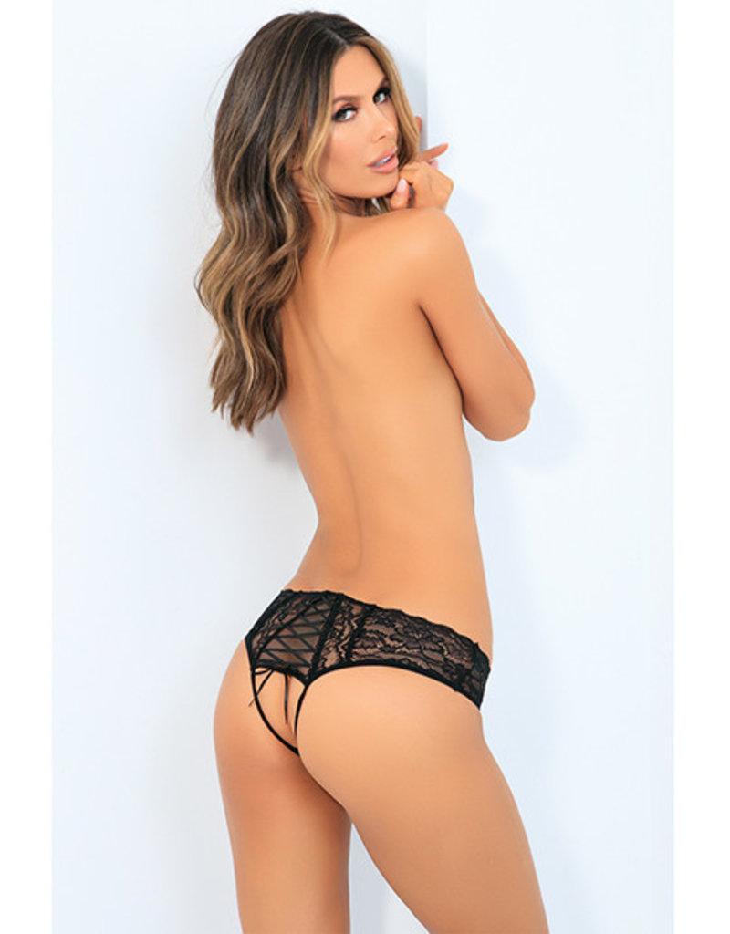 Rene Rofe All Tied Up Open Back Panty Black S/M