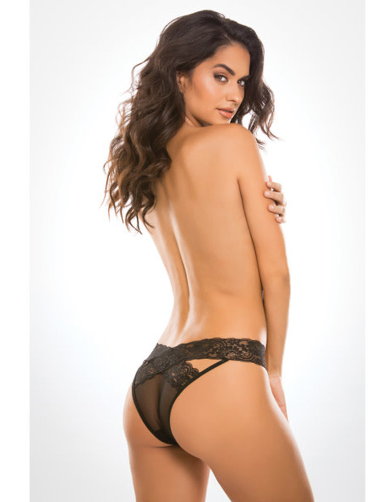 Allure Lingerie Adore Sheer & Lace Desire Panty Black O/S