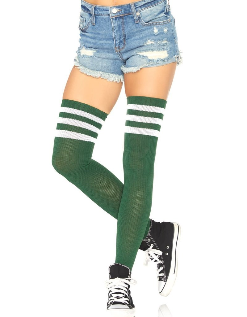 Leg Avenue Athletic Thigh Highs - Hunter Green - One Size