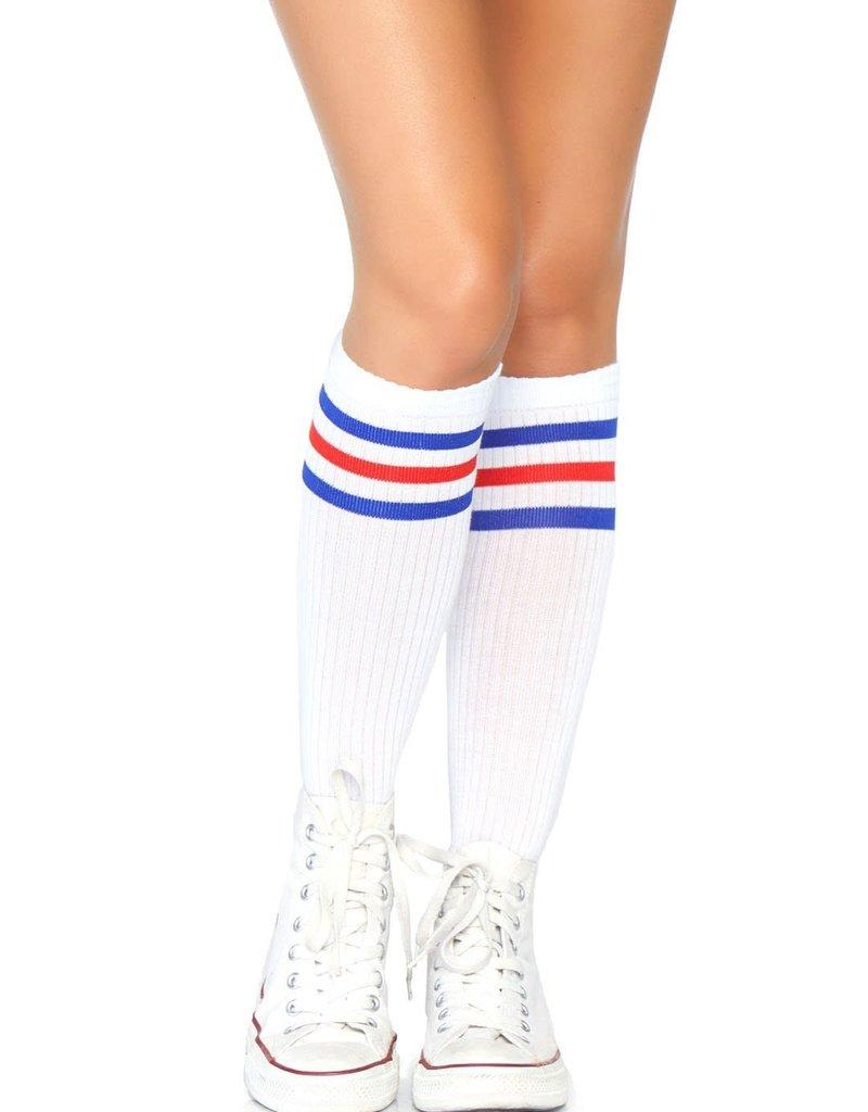 Leg Avenue Athletic Striped Knee Highs - Wht/Blue/Red - One Size