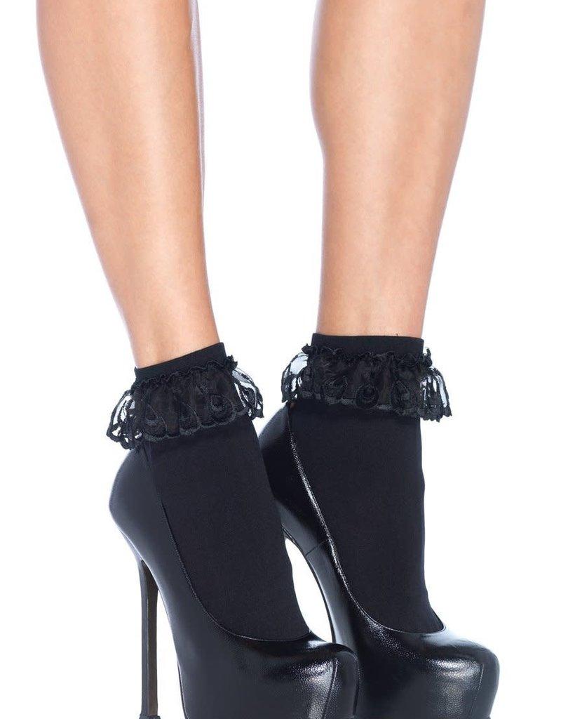 Leg Avenue Anklet W/Lace Ruffle O/S BLACK
