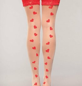 Be Wicked Lace Top Heart Hold Up - Nude/Red - One Size