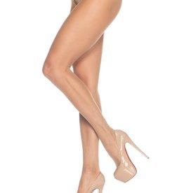 Leg Avenue Sheer Nylon Crotchless Pantyhose O/S BEIGE