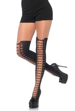 Leg Avenue All Tied Up sheer pantyhose with opaque faux thigh high boot detail O/S