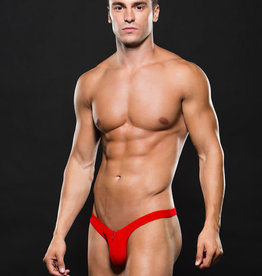 Envy Microfiber Lowrise Zip Thong - Red - Medium/Large
