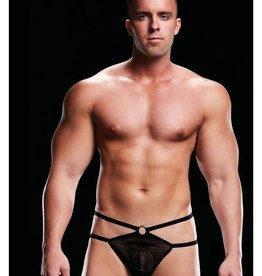 Envy European Styling Low Rise G-String with O- Rings - Black - Small/Medium