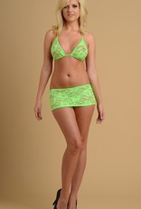 Just to Flirt 2pc Lace Skirt and Bikini Top - Assorted Colors - OS
